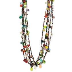 Black Thread Beaded Necklace