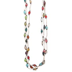 3 Line Multi Mosaic Square Bead Thread Necklace