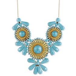 Gold & Turquoise Mini Medallion Bib Necklace