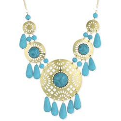 Turquoise Bead Cutout Medallion Statement Necklace