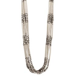 Silver Bar & Facet Bead 6 Line Necklace