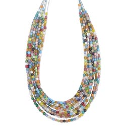 8 Line Graduating Mosaic Glass Bead Necklace