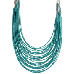 28 Line Turquoise Bead & Wire Necklace
