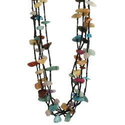 Found Treasures Multi Stone Chip & Thread Necklace