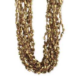 Gold Bead & Metallic Thread Necklace