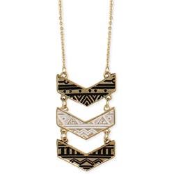 Gold Black & White Chevron Long Necklace