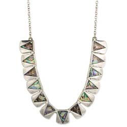 Abalone Triangles Silver Bib Necklace