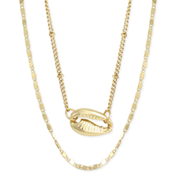 Double Chain Gold Cowry Shell Necklace