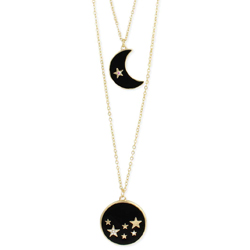 Dark Night Gold & Enamel Celestial Necklace