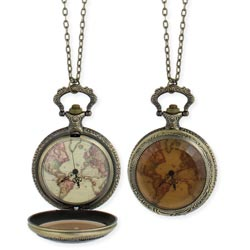 Vintage spinning globe pendant long necklace world map watch necklace gumiabroncs Image collections