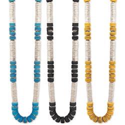 Long Disk & Cap Bead Necklace