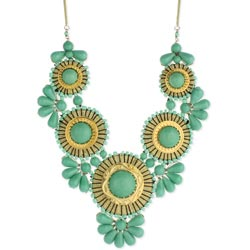 Mint Bead Medallion Bib Necklace