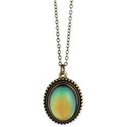 Burnished Gold Oval Mood Pendant Necklace