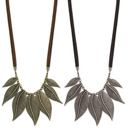 Antique Metal Leaves Bib Necklace