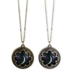 Antiqued Metal Moon Print Necklace