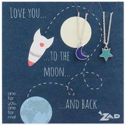 Set of 2 Silver Moon & Star Necklaces - Two to Share!