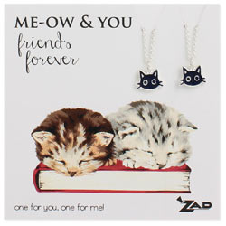 Set of 2 Silver Cat Necklaces - Two to Share!