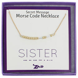 Mixed Metal Sister Morse Code Necklace