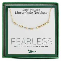 Mixed Metal Fearless Morse Code Necklace