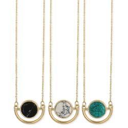 Geometric Stone Circle Gold Necklace