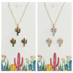 Shell Cactus Earring & Necklace Set
