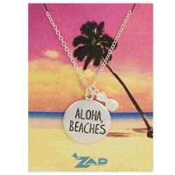 Seaside Sayings Aloha Beaches Word & Charm Pendant Necklace