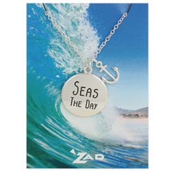 Seaside Sayings Seas the Day Word & Charm Pendant Necklace