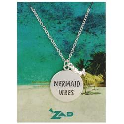 Seaside Sayings Mermaid Vibes Word & Charm Pendant Necklace