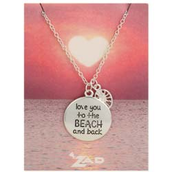 Seaside Sayings Love You to the Beach and Back Word & Charm Pendant Necklace