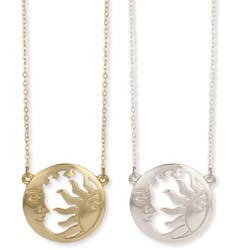 Setting Sun, Rising Moon Cutout Pendant Necklace