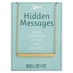 Hidden Messages Slide Bar Believe Necklace