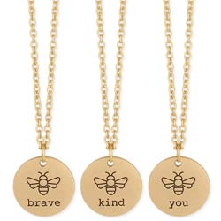 Bee Who You Are Bee Affirmation Gold Necklace