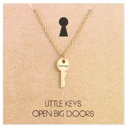 Little Keys Open Big Doors Courage Key Charm Necklace