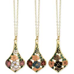 Cloisonne Flowers Teardrop Necklace
