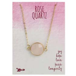 Healing Crystal Round Rose Quartz & Gold Necklace