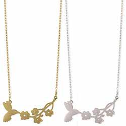 Spring Silhouette Bird Flower Necklace