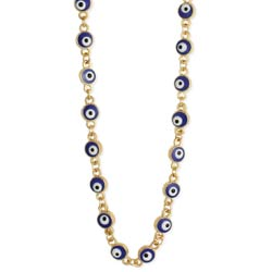 Eyes Are Everywhere Blue Evil Eye Bead Gold Necklace