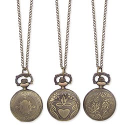 Antiqued Gold Metal Pocket Watch Long Necklace