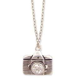 Silver Crystal Lens Camera Necklace