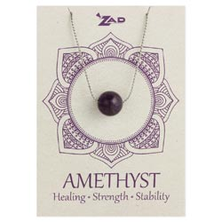 Amethyst Bead Silver Chain Necklace