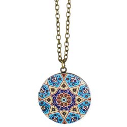 Round Enamel Tile Locket Long Necklace