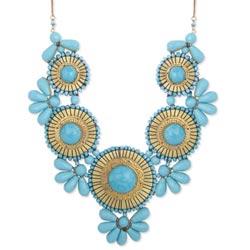 Turquoise Bead Medallion Bib Necklace