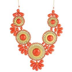 Orange Bead Medallion Bib Necklace
