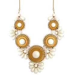 White Bead Medallion Bib Necklace