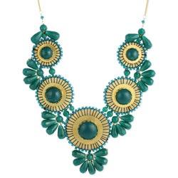 Green Bead Medallion Bib Necklace