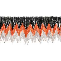 Orange, Black & Pink Beaded Fringe Choker