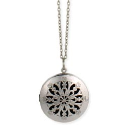 Silver Cutout Essential Oil Diffuser Locket Long Necklace