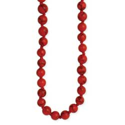 Red Turquoise Bead Long Necklace