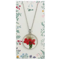 Bright Bouquet Pressed Red Flowers Necklace