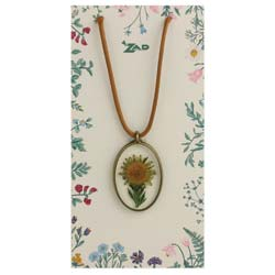 Bring on the Sun Dried Sunflower & Leather Necklace